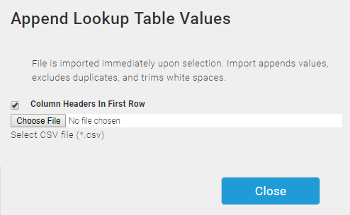 Importing Or Exporting Lookup Tables