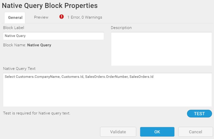 Native Query Block